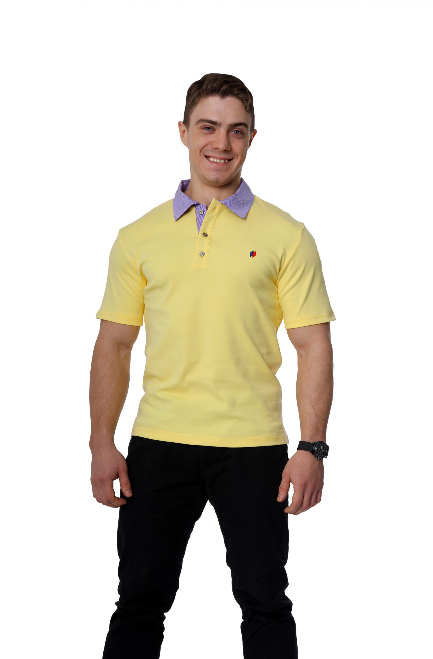 Рубашка-поло с контрастной планкой мужская желтая купить оптом,