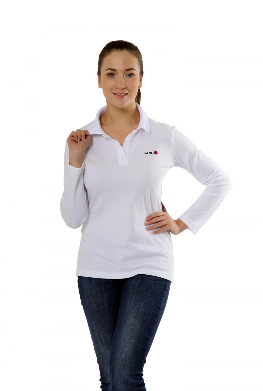 Рубашка-поло KANO Longsleave W белая купить оптом,