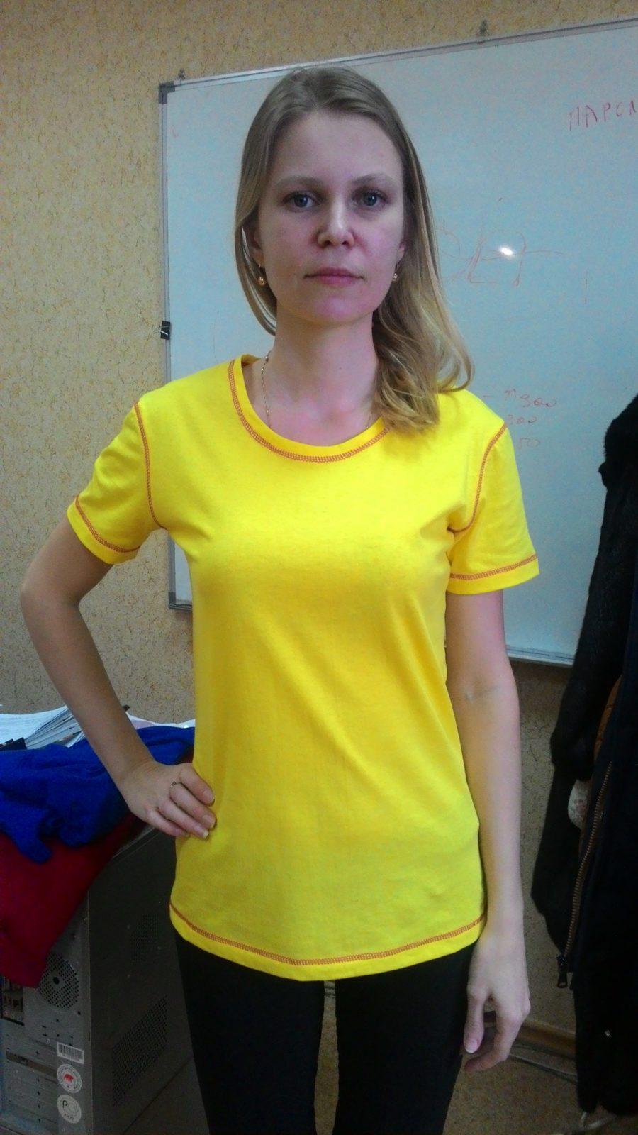Футболка KANO Contrast 145 W цвет: желтый/красный купить оптом,