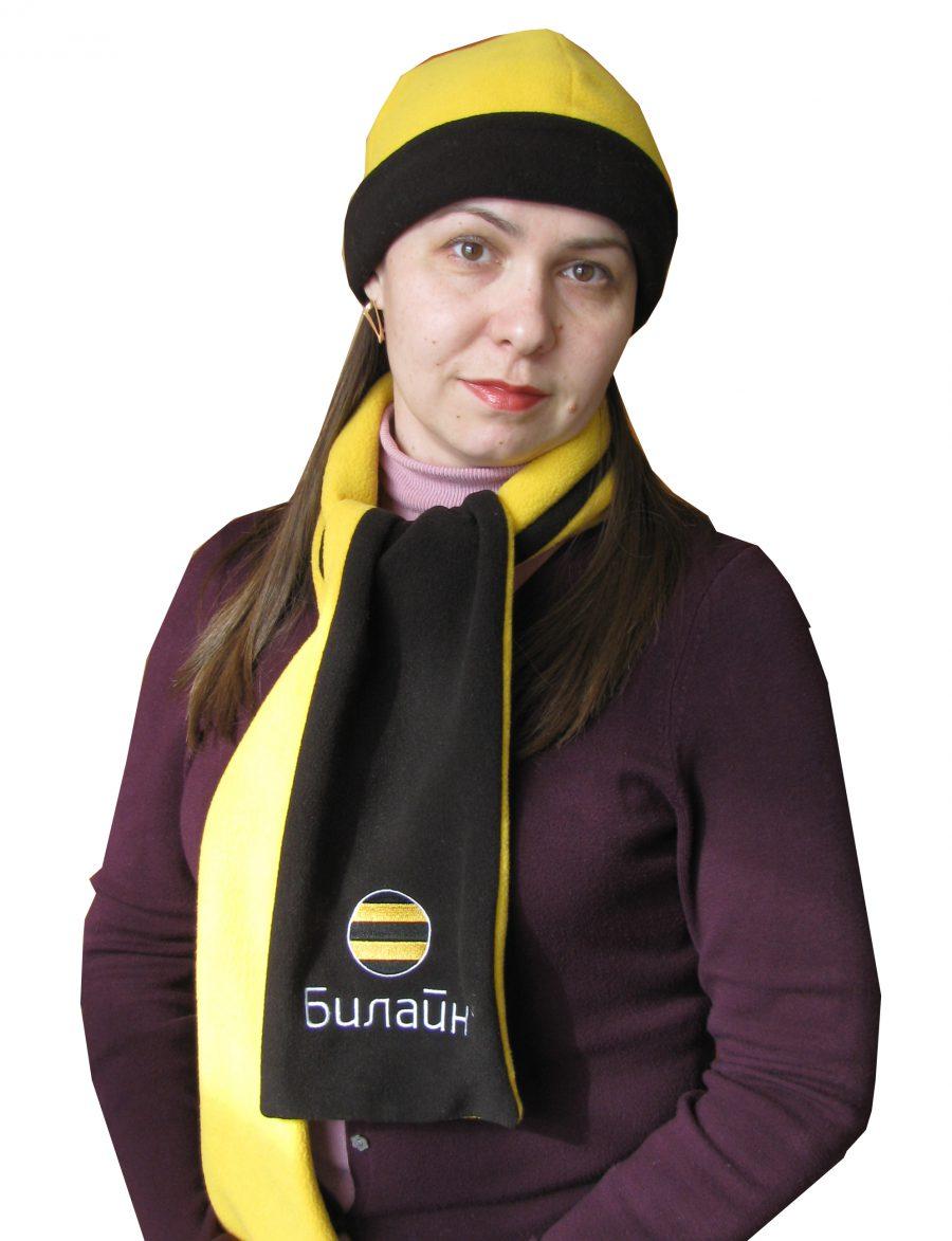 Шапка+шарф (комплект) желтый/черный купить оптом,