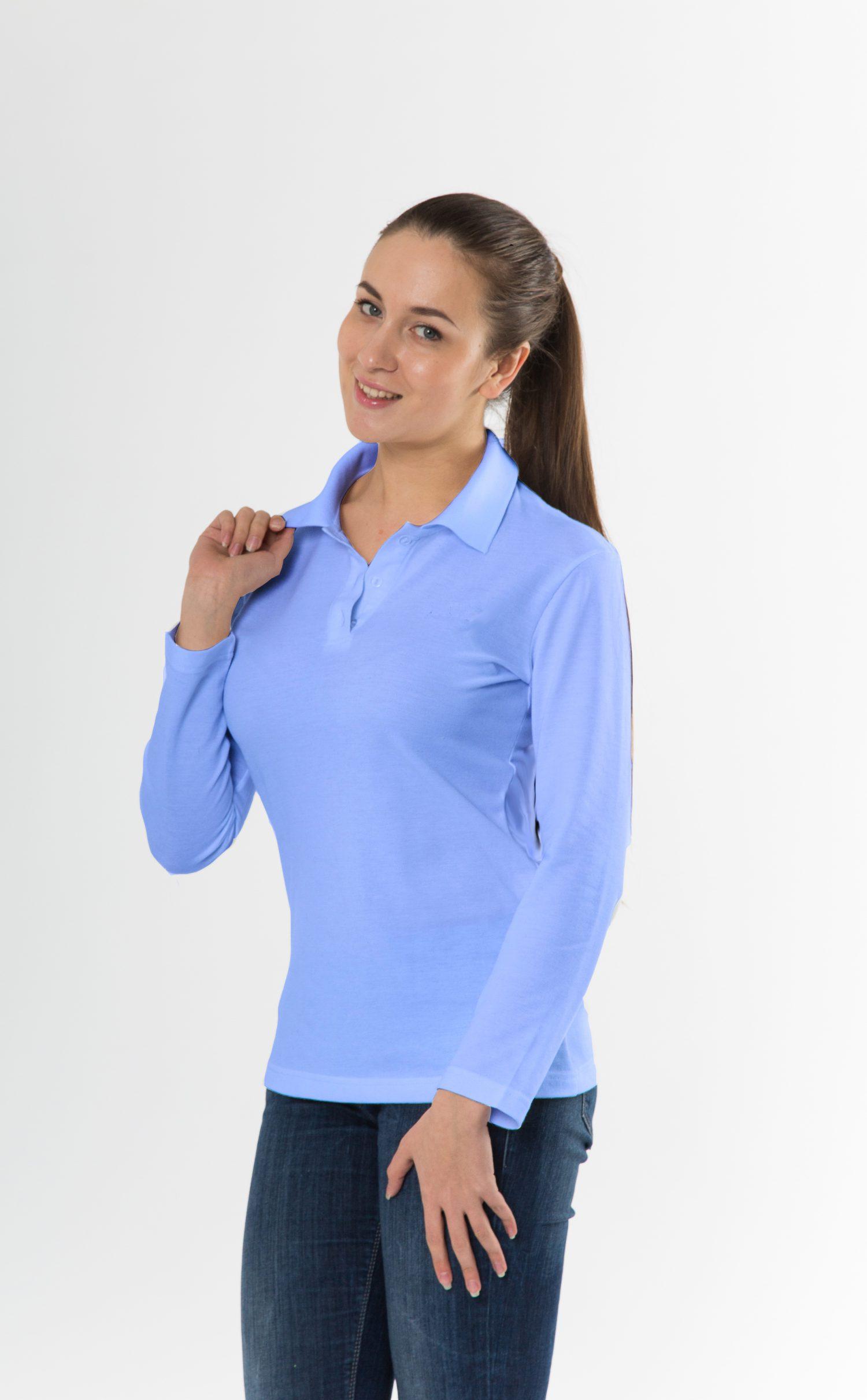 Рубашка-поло KANO Longsleave W голубая купить оптом,
